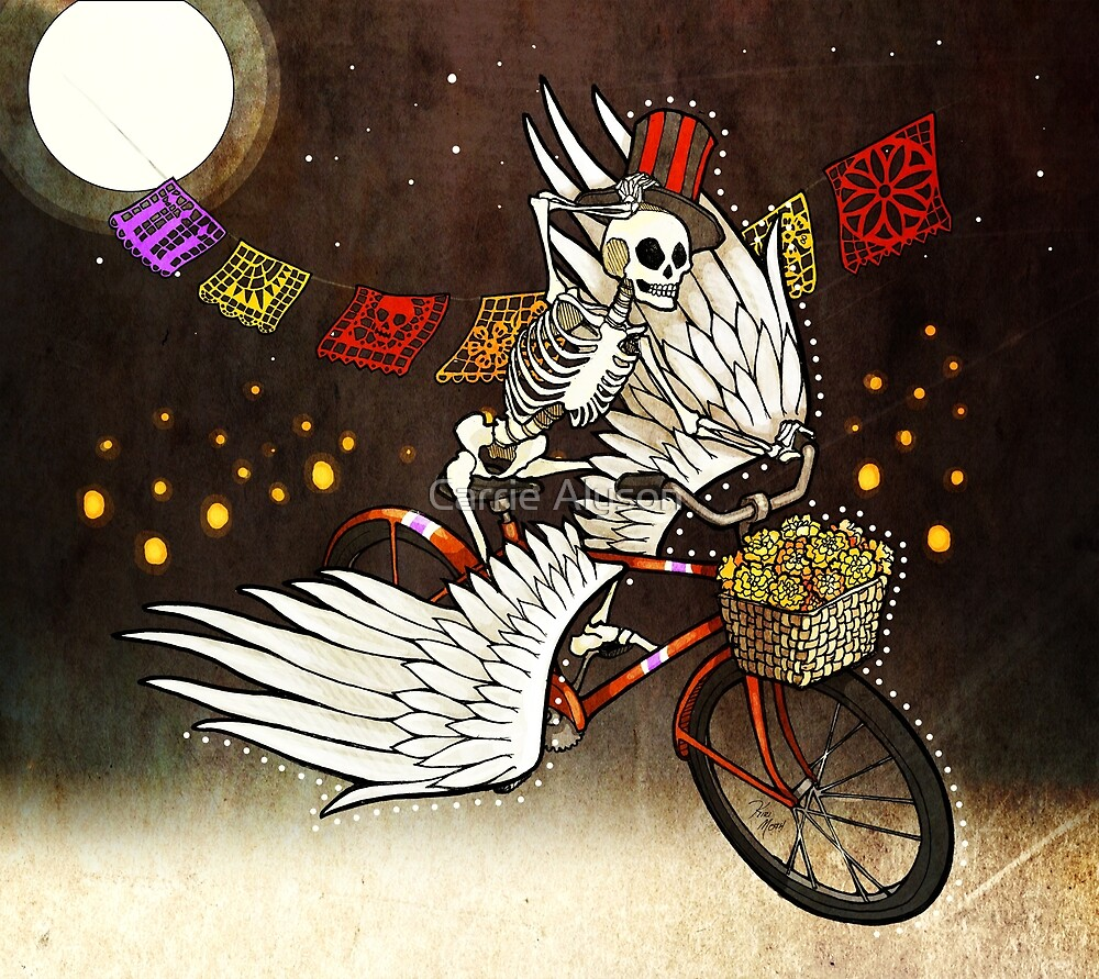 Skeleton on a Bike by Carrie Alyson