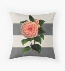 botanical stripes - camellia Throw Pillow