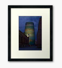 Khiva minaret at dusk Framed Print