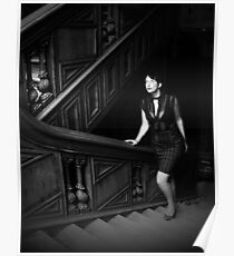 Black and white stairway Poster