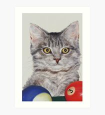 Little Pool Playing Cat Art Print