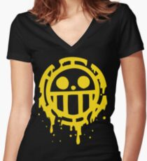Heart pirates trafalgar law one piece Women's Fitted V-Neck T-Shirt