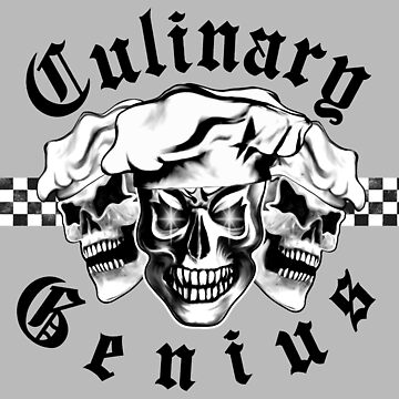 Chef Skull Trio: Culinary Genius (black text) by sdesiata