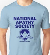 National Apathy Society Blue Unisex T-Shirt