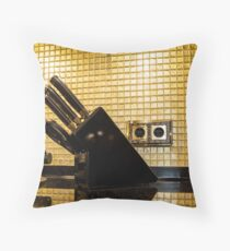 set of kitchen knives in the interior Throw Pillow