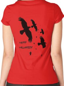 Happy Halloween Murder of Crows Women's Fitted Scoop T-Shirt