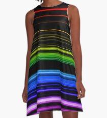 Horizontal Rainbow Bars A-Line Dress