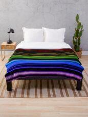Horizontal Rainbow Bars Throw Blanket
