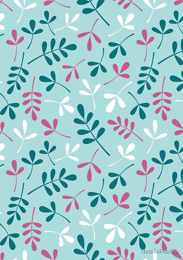 Assorted Leaf Silhouettes Teals Pink White Pattern by NataliePaskell