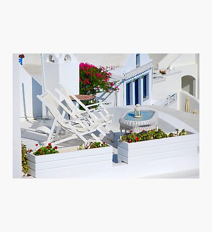 Relaxation in Oia Village, Santorini Photographic Print