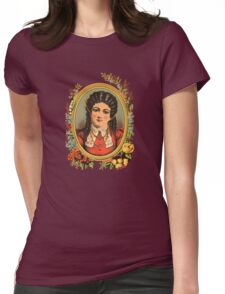 Vintage kitsch lady with black hair Womens Fitted T-Shirt