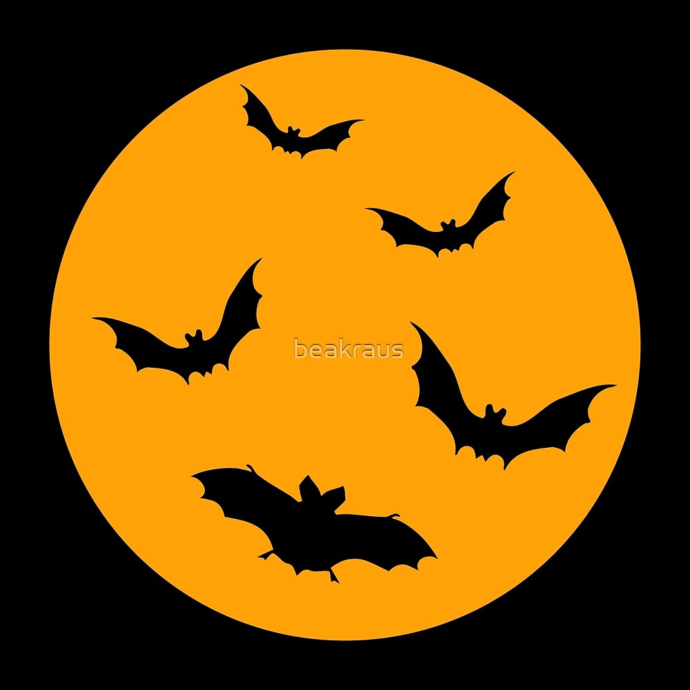 Halloween moon with bats by beakraus
