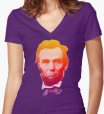 Big psychedelic Abe  Women's Fitted V-Neck T-Shirt