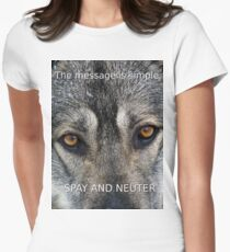 Angel On Call Dog Rescue Spay and Neuter Message Women's Fitted T-Shirt
