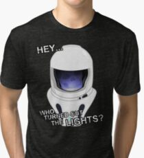 """Hey Who Turned Out The Lights"" Tri-blend T-Shirt"