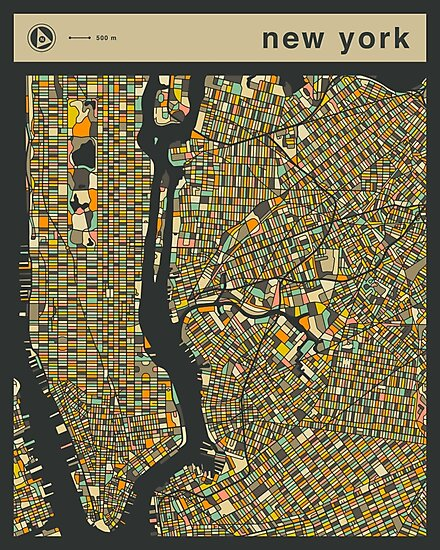 NEW YORK MAP (vertical) by JazzberryBlue