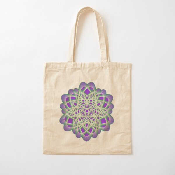 Abstract Sea Green Spiral Lines Cotton Tote Bag