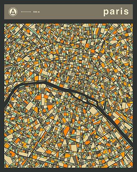 PARIS MAP (vertical) by JazzberryBlue