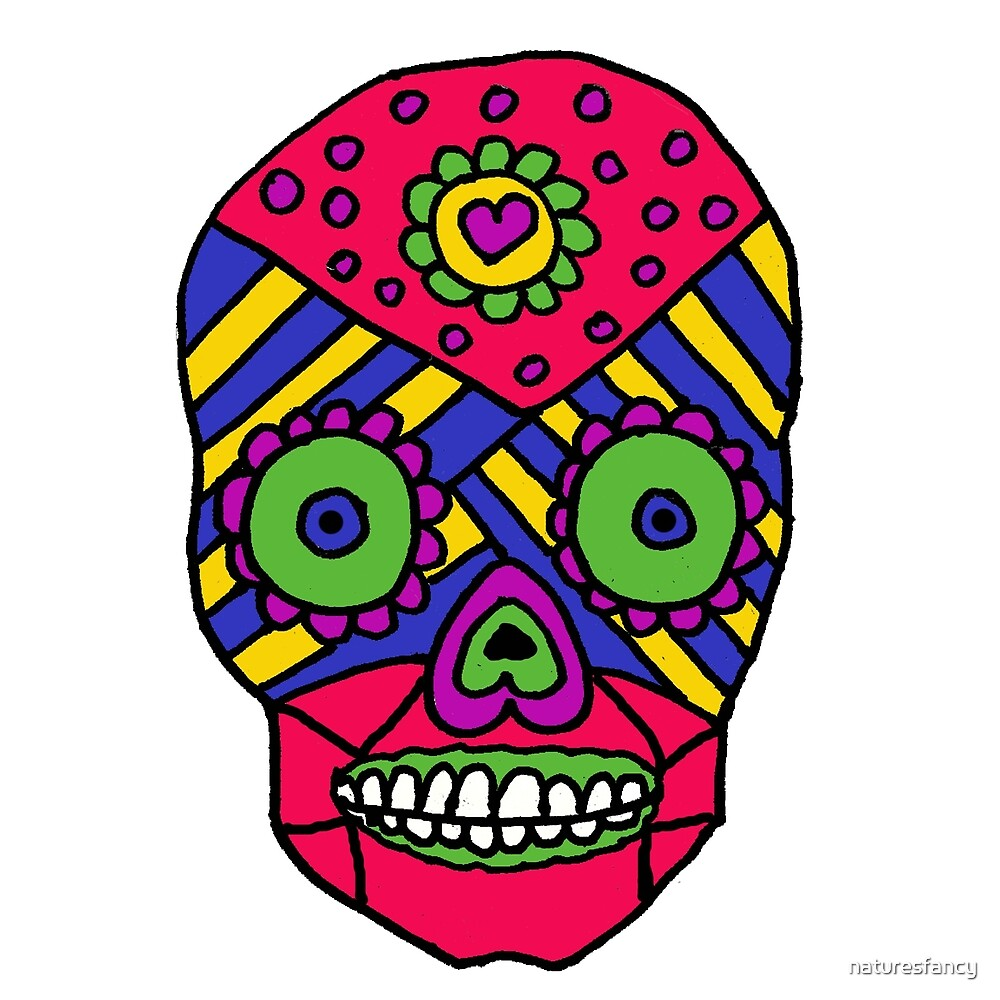 Awesome Colorful Gothic Skull Original by naturesfancy