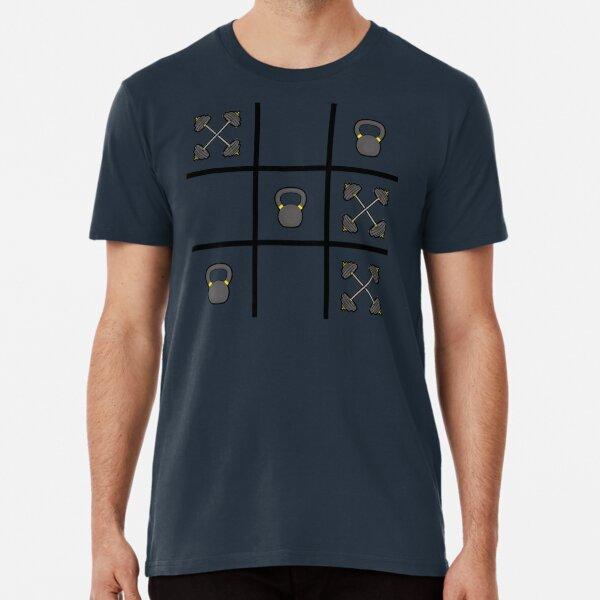 Tic Tac Toe with Kettlebells & Barbells Premium T-Shirt