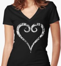 Kingdom Hearts Heart grunge Women's Fitted V-Neck T-Shirt