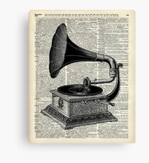 Vintage Gramophone Record Player Dictionary Art Canvas Print