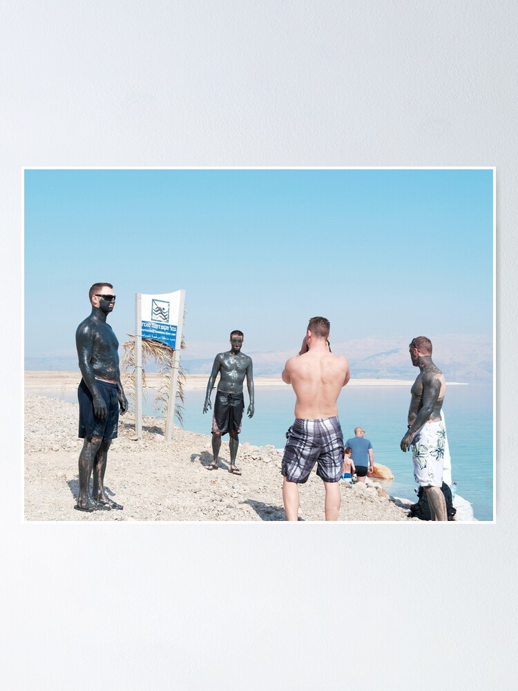 Alternate view of Dead Sea, Israel. Men and Mud. Poster