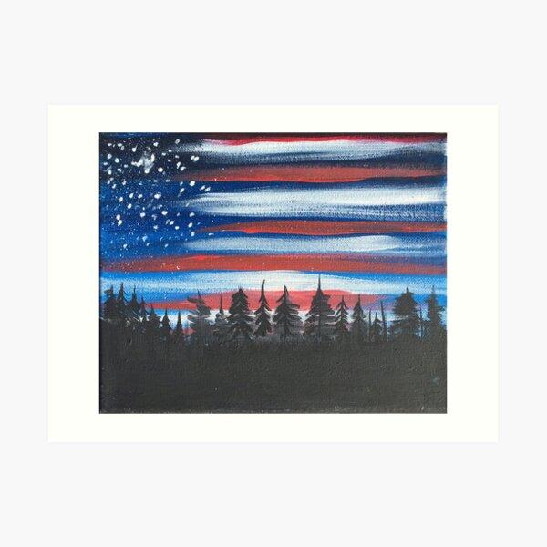 American Flag Sky Art Print