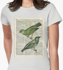 Green Canary Brds Over Vintage Book Page T-Shirt