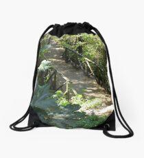Wood Bridge on a Trail Drawstring Bag