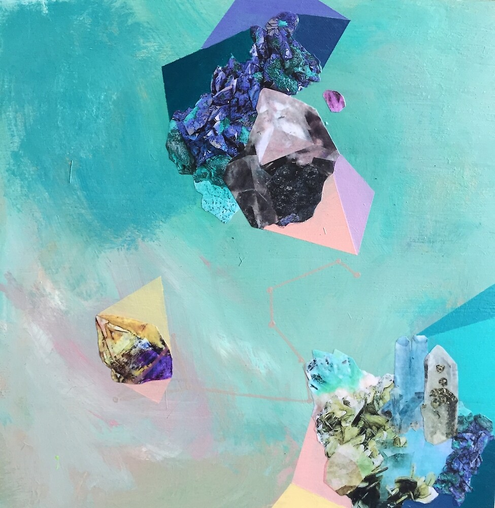 """Original contemporary art painting titled """"Mineral Leo"""" - Inspired by gemstones and astrology. by saracannon"""