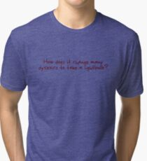 How does it change many dyslexics to take a lightbulb? Tri-blend T-Shirt