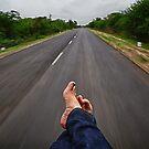 Relaxing in the back of an Autorickshaw, Kutch, Gujarat by Biren Brahmbhatt