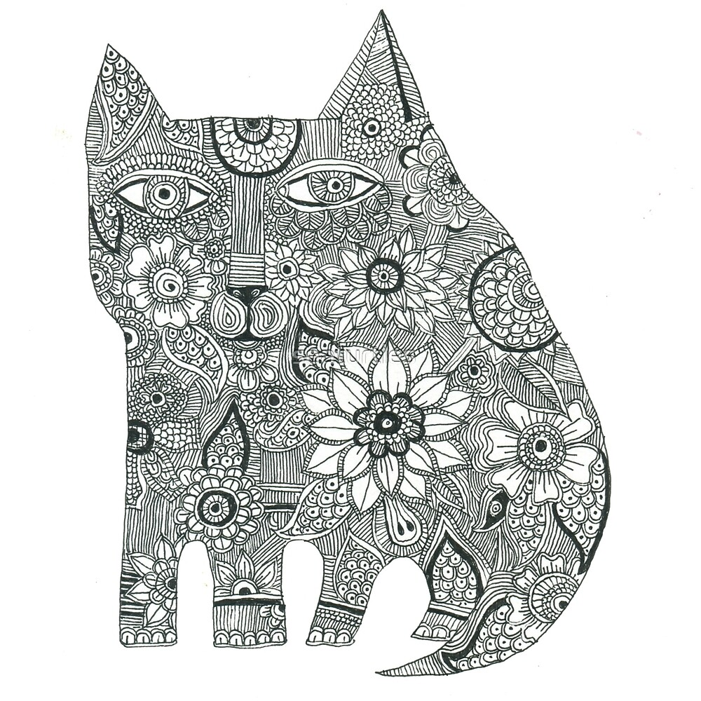 Cat black and white henna pen and ink drawing by seaturtles