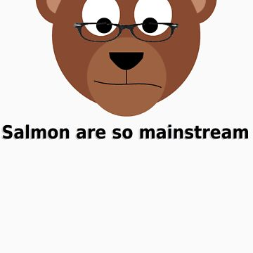 Hipster bear dislikes salmon by Phinq