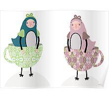Teacup Birds Poster