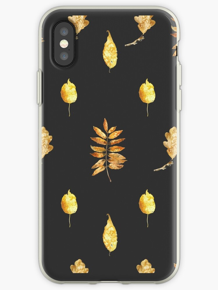 Autumn Leaves Pattern On Black by Lunta