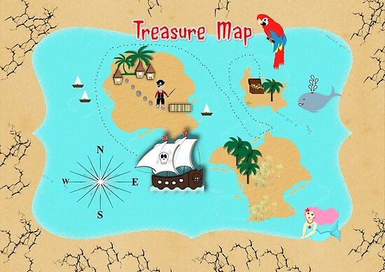 Pirates Secret Hidden Treasure Themed Map by Artification