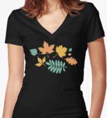 Black and Pastel Leaves Pattern Women's Fitted V-Neck T-Shirt