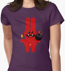 RABBIT 4  (Cute pet has a bomb and its alight!) Womens Fitted T-Shirt