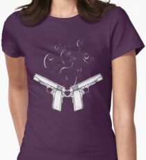double gun negative Womens Fitted T-Shirt