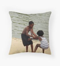 You're Going in the Koi Pond (candid shot) Throw Pillow