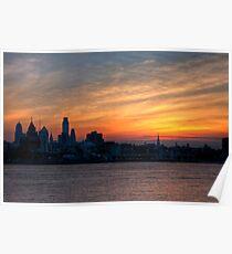 Philadelphia Skyline at Sunset Poster