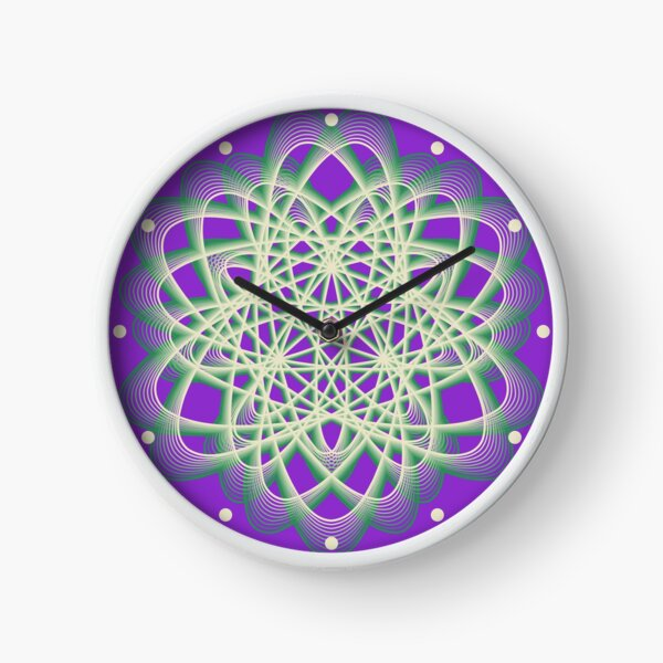 Abstract Sea Green Spiral Lines Clock