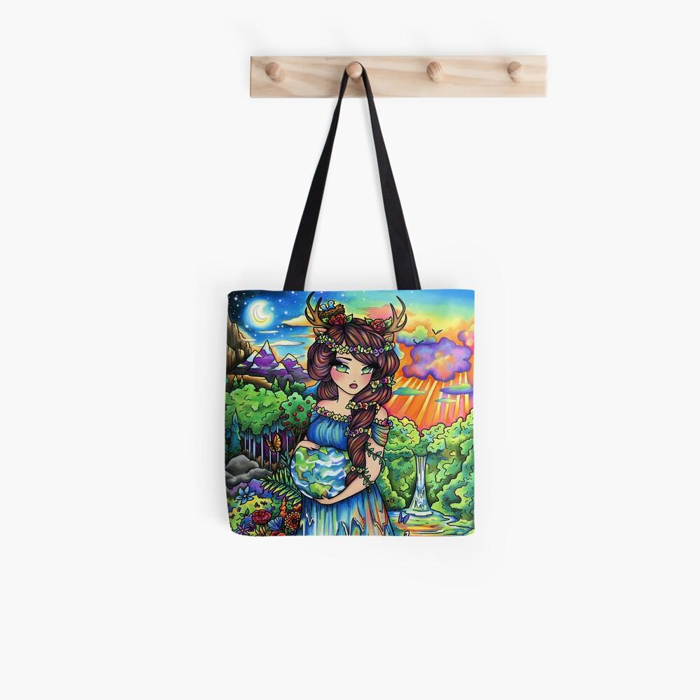 Mother Earth, Mother Nature Pregnant Fantasy Landscape Artwork Tote Bag