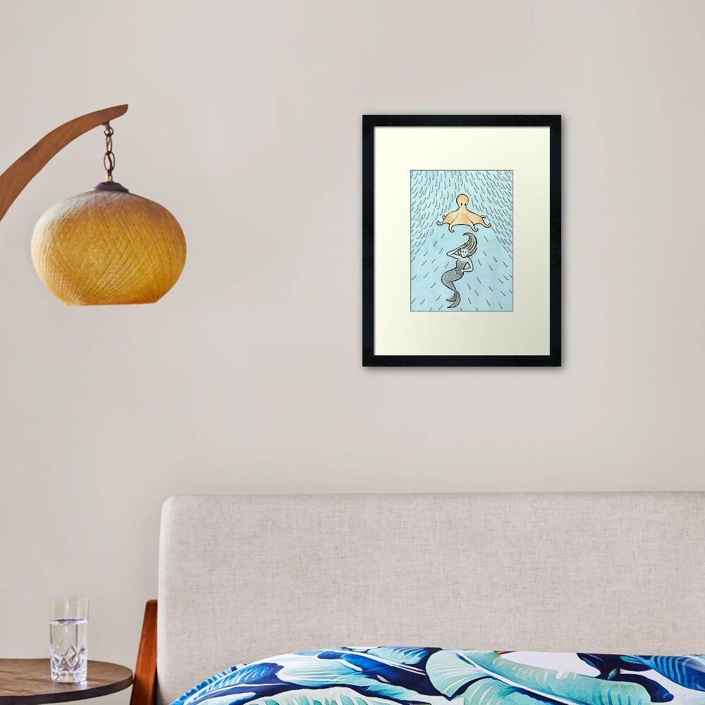 The Mermaid's Umbrella Framed Art Print
