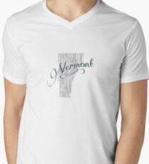 Vermont State Typography Men's V-Neck T-Shirt