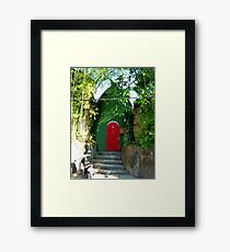 green house red door Framed Print