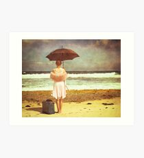 Waiting for her ship to come in Art Print