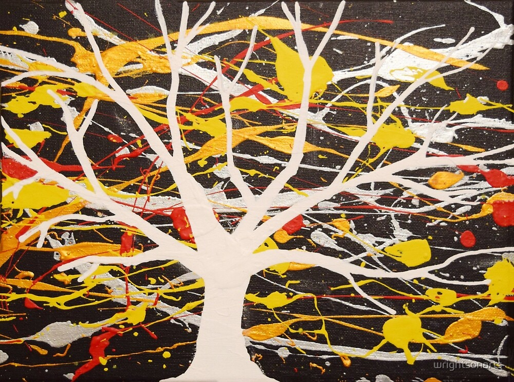 """The White Tree"" wall art Original print painting tree abstract decor wall art starry night tree of life by wrightsonarts"
